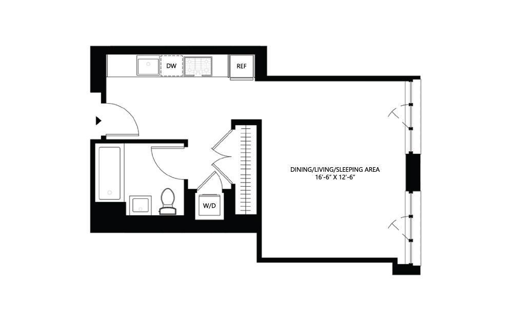 S14 Studio 1 482 square feet
