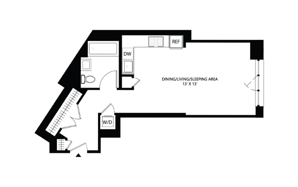 S16 Studio 1 519 square feet
