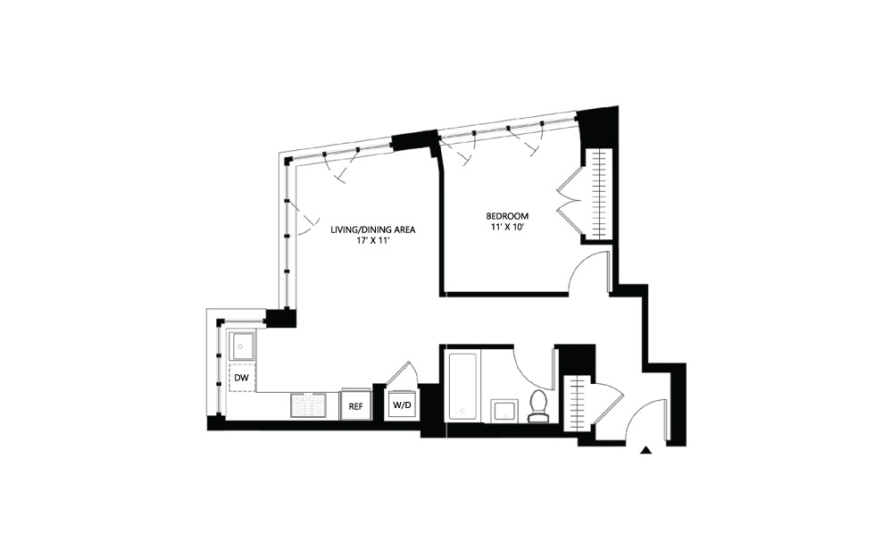 S19 1 bed 1 bath 624 square feet