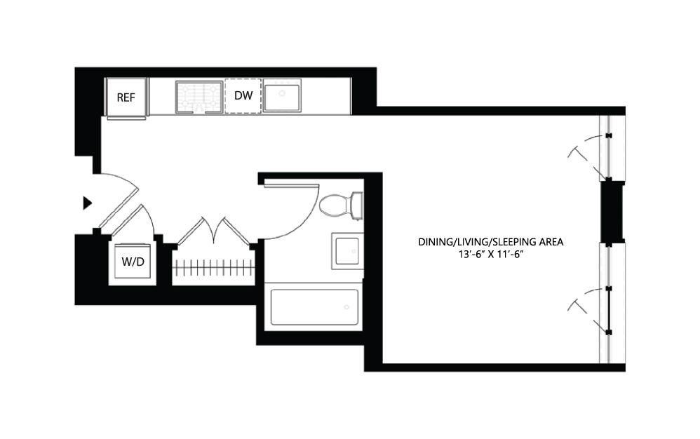 S2 Studio 1 401 square feet