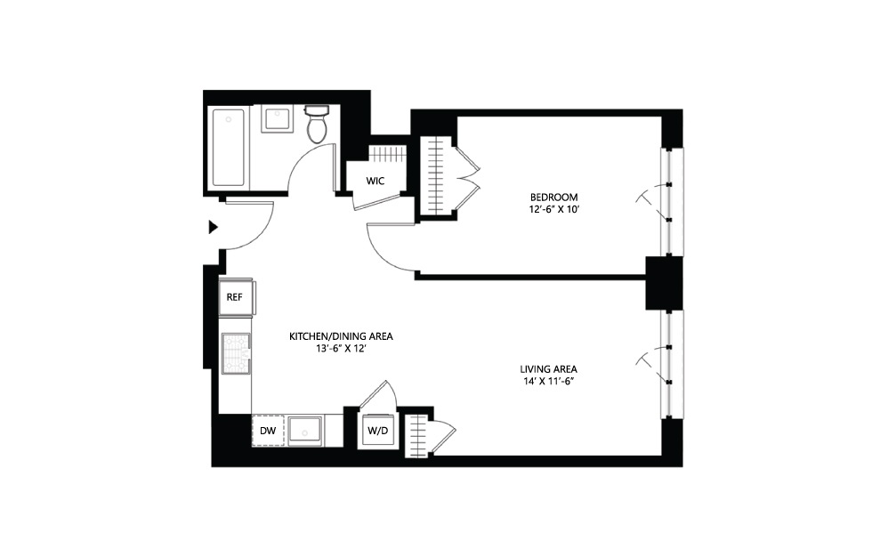 S22 1 bed 1 bath 652 square feet
