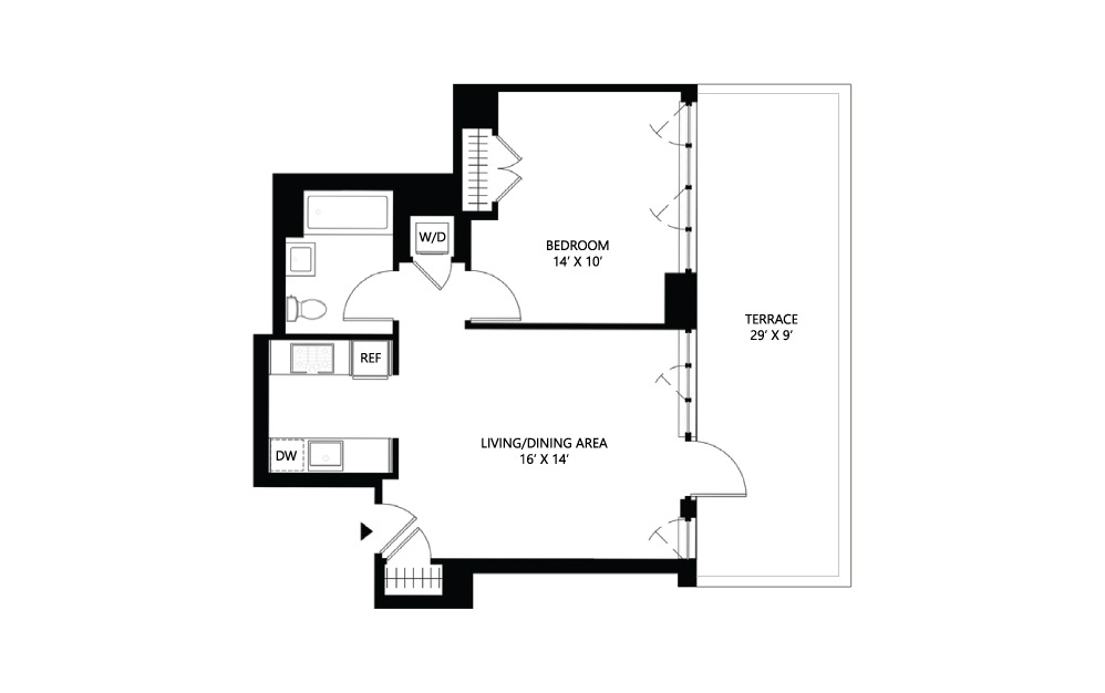 S24 1 bed 1 bath 658 square feet