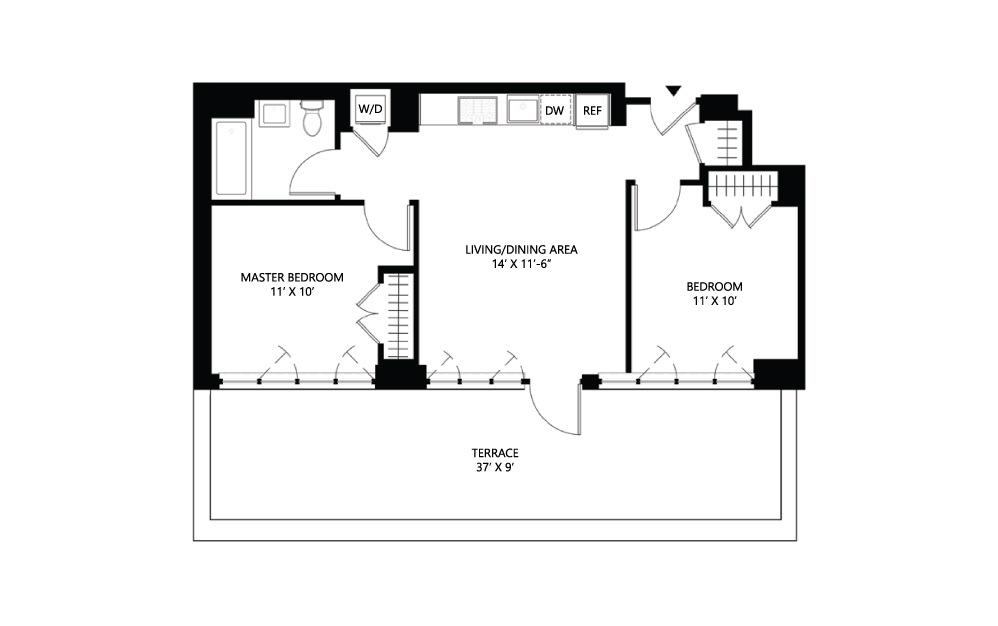 S28 1 bed 1 bath 763 square feet