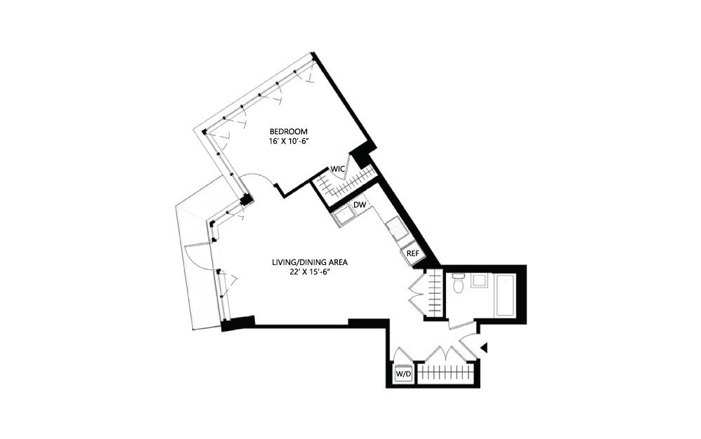 S29 1 bed 1 bath 782 square feet