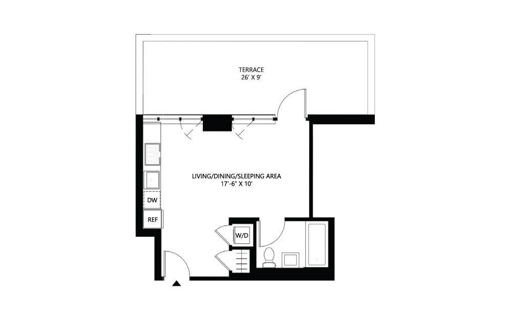 S4 Studio 1 402 square feet