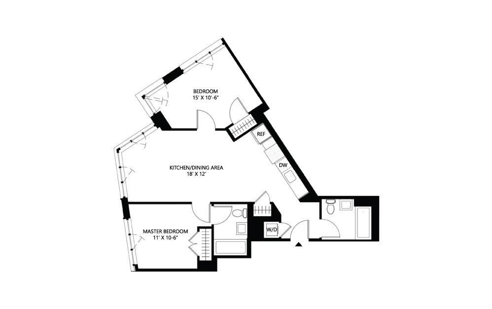 S30 2 bed 2 bath 899 square feet