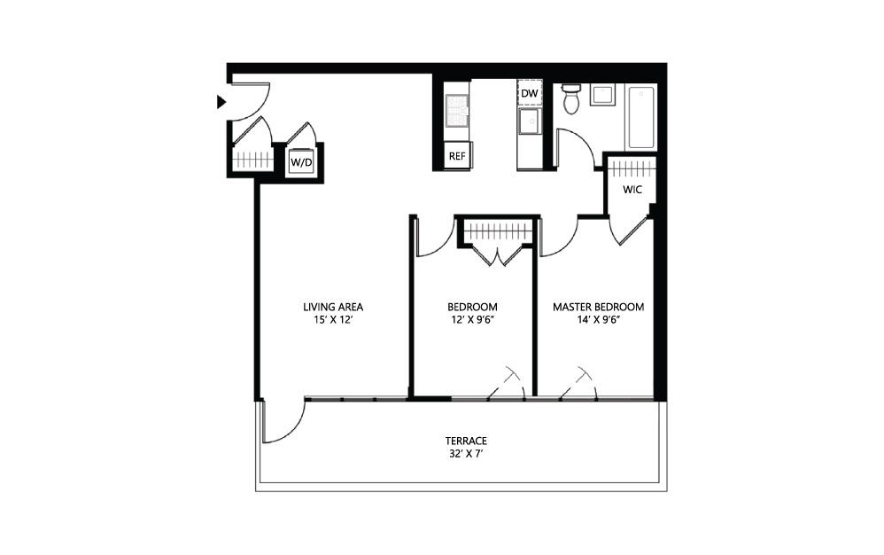S31 2 bed 1 bath 918 square feet