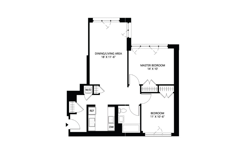 S32 2 bed 1 bath 934 square feet