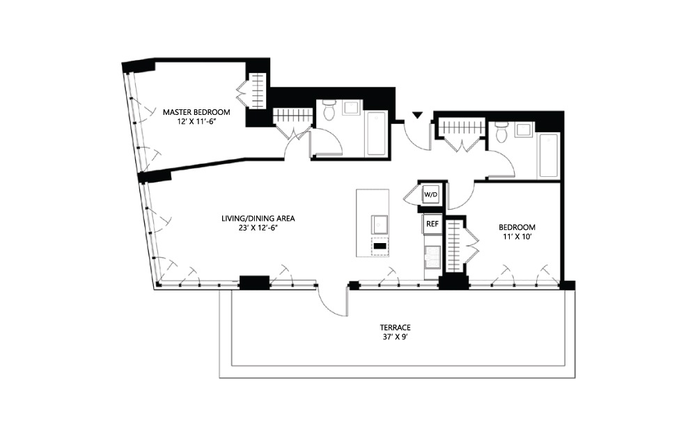 S34 2 bed 2 bath 1082 square feet