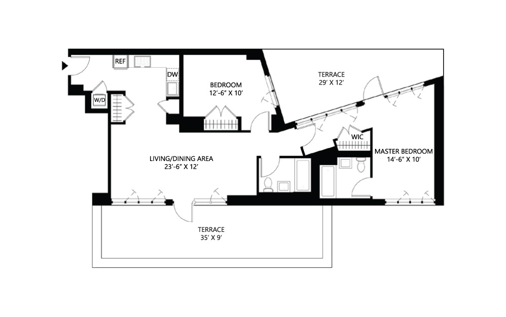 S37 2 bed 2 bath 1168 square feet
