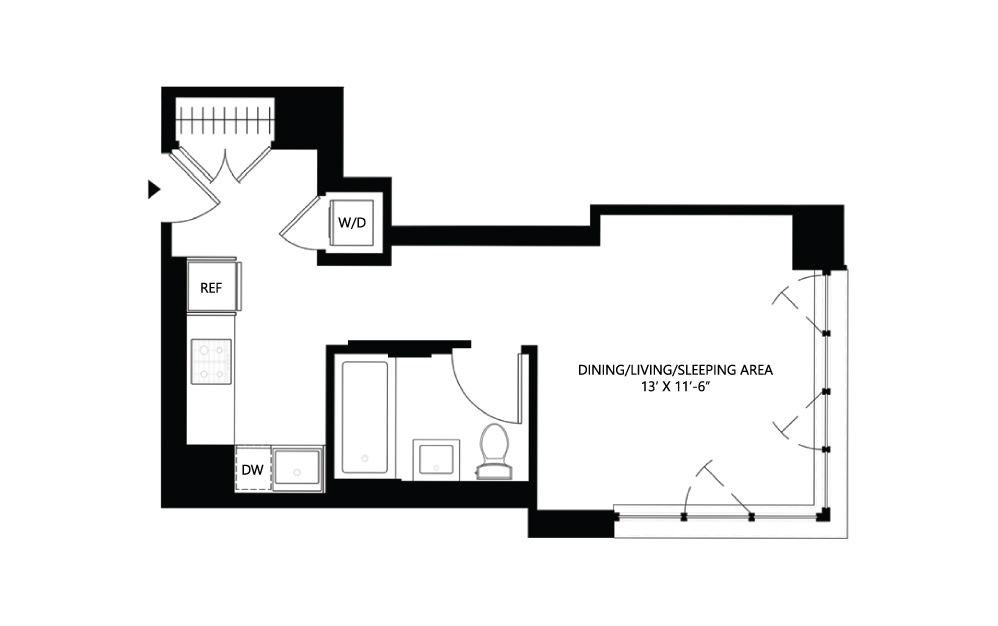 S9 Studio 1 412 square feet